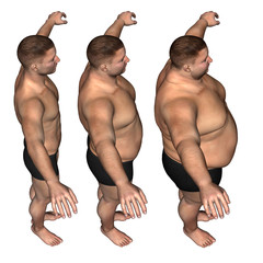Human man fat and slim concept isolated