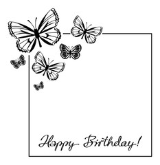 Greeting card with butterflies silhouettes