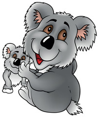 Koala Bear And Cub - Colored Cartoon Illustration, Vector