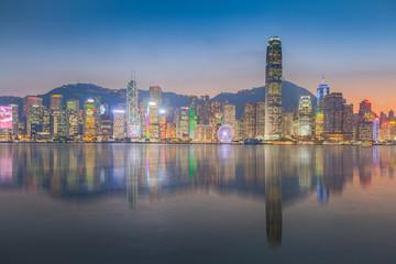 Panorama view of Hongkong island building in twilight time