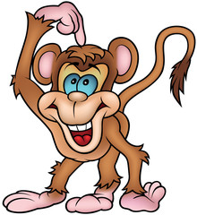 Cheerful Monkey - Colored Cartoon Illustration, Vector