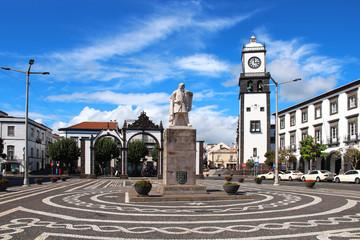 Main square of Ponta Delgada, Sao Miguel island, Azores, Portugal