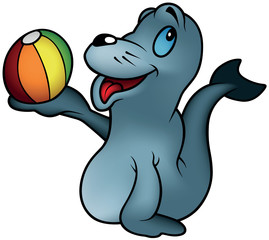 Seal playing With a Ball - Colored Cartoon Illustration, Vector