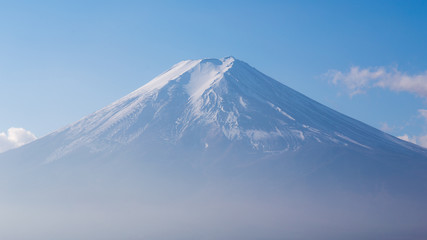 Close up snow coverd over Fuji mountain in Japan