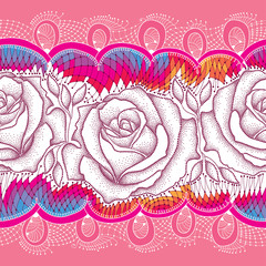Seamless pattern with dotted rose flower and decorative lace on the pink background. Floral background in dotwork style.