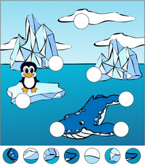 Whale killer and penguin on an ice floe. Complete the puzzle and