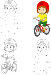 Young boy riding a bicycle in a helmet. Vector illustration. Col