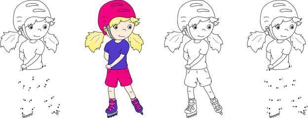 Girl roller-skating in a helmet. Vector illustration. Coloring a