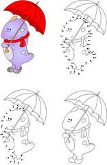 Funny cartoon dragon with an umbrella. Vector illustration. Colo