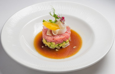 Salmon tartar, gourmet Food
