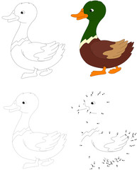 Cartoon duck. Vector illustration. Dot to dot game for kids