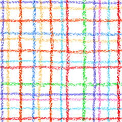 Seamless checkered pattern on white. Pastel chalk crayon colored hand painted background for pattern, web page background, wallpaper, surface textures, fills.
