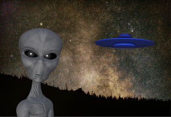 rendered illustration of an alien flying saucer with a background  of an astronomical image that I took
