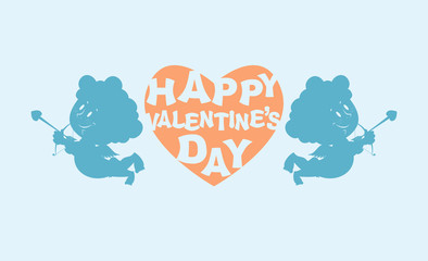 Happy Valentines day. Heart and kupiony. Little angels. Emblem f