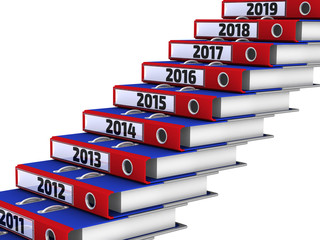 Office folders stacked in the form of steps. 2011-2019 year. The three-dimensional illustration