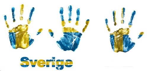 Handabdrücke mit Flagge Schweden