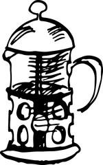 French press cofee maker. Vector illustration