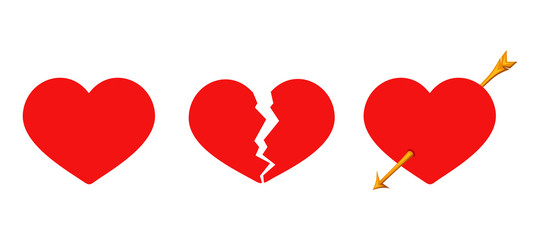 Red Valentines solid, cracked and arrow piercing hearts. Vector illustration.