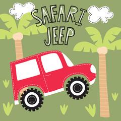 safari jeep car vector illustration