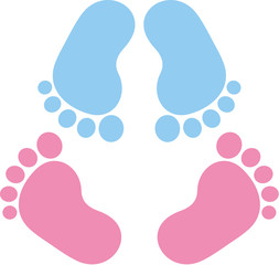 Two pair of baby footprint twins