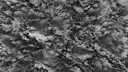 3d render of abstract planet surface with high detailed relief made with displacement noise