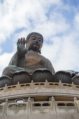 Tian Tan Buddha or Big Buddha statue in Hong Kong, China, viewed from below.