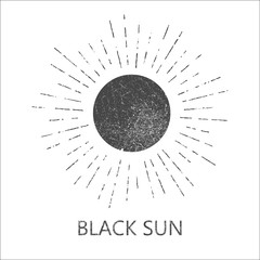 Monochrome hipster grunge vintage label with sun, starburst and rays