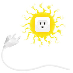 Renewable energy - solar energy - plug and sun with socket. Isolated vector illustration on white background.