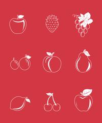Glossy fruit icon set