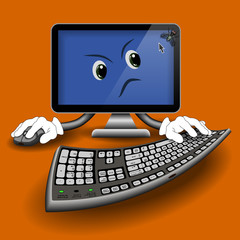 Fun computer with annoying fly on your monitor on an orange background