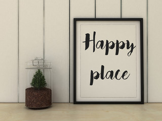 Home, family  and happiness concept. Happy place poster in frame  Scandinavian style home interior decoration.