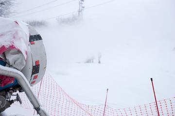 Artificial snow machine at a ski resort