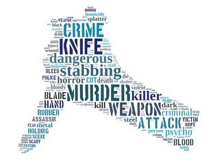 Knife murder, word cloud concept 3