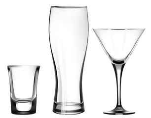 transparent glass for martini. beer glass. shot. mug. Vector Illusatration