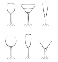 Set of Beer Glasses. Vector Illustration