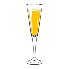 Glass of champagne  Icon. Isolated On white background. Vector I