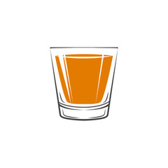 Shot Glass Of Whiskey Icon. Isolated On white background. Vector