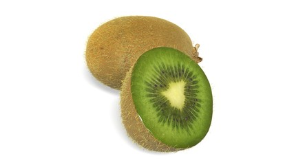 Kiwi isolated on white background, tropical fruit sliced in half, close up view