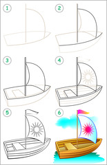 Page shows how to learn step by step to draw a boat. Developing children skills for drawing and coloring. Vector image.
