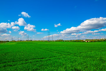 Nature Field and Bright Soft Clouds Sky
