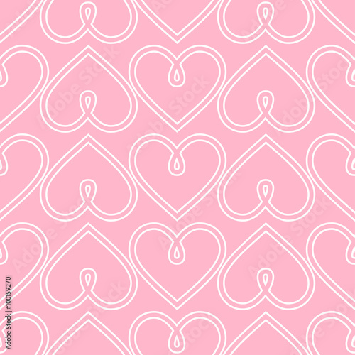 Happy Valentine S Day Background Pink Seamless Vector Heart Pattern