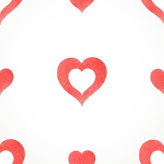 Vector seamless pattern from red hand drawn watercolor hearts