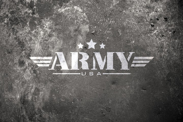 military army star with brick wall background