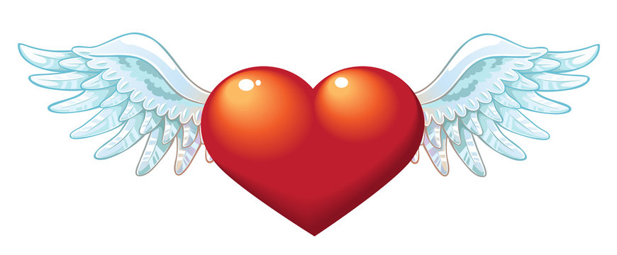 The Valentine's day heart with wings