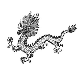 Vector Of Hand Draw Asian Dragon
