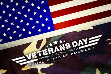 Veterans day and camouflage background