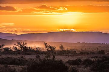 Outback South Australia beautiful orange sunset over the Flinders Ranges