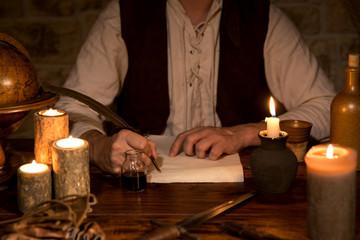Unterzeichnen von einem Dokument, Mittelalter Ambiente