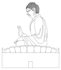 Big Buddha Sitting Statue Black and White Line Art Vector Illustration