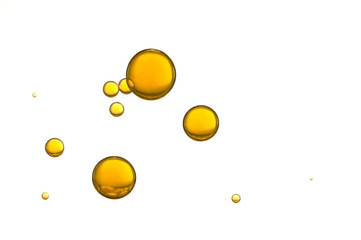 Fototapeta Yellow air bubbles isolated over a white background obraz